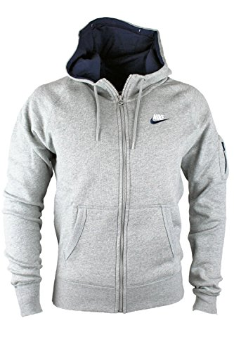 Nike foundation aw77 grigio da uomo giacca in pile con cappuccio - , Grigio, Grigio, Uomo, Large