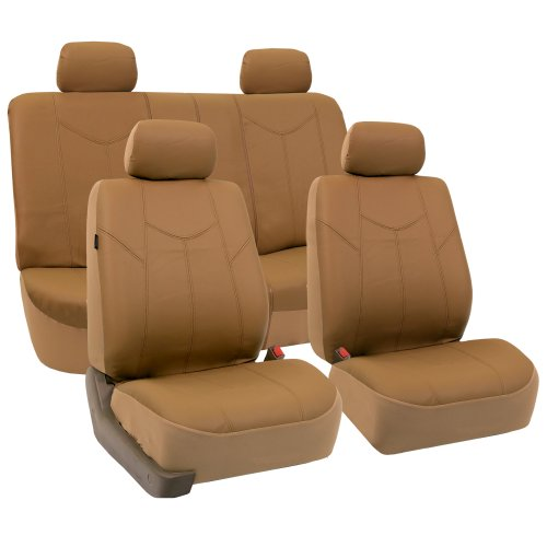 FH GROUP FH-PU009114 Rome PU Leather Seat Covers Airbag Ready & Rear Split Tan- Fit Most Car, Truck, Suv, or Van (Leather Dodge Dart Seat Covers compare prices)