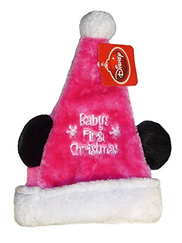 "Baby Disney Mickey & Minnie Mouse Ear Santa Hat ""My First Christmas"""