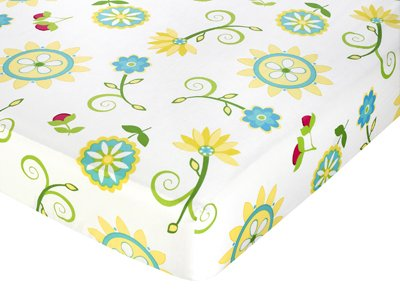 Turquoise and Lime Layla Fitted Crib Sheet for Baby/Toddler Bedding Sets by Sweet Jojo Designs - Floral Print
