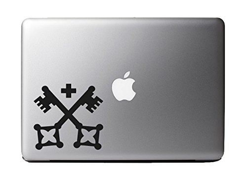 """Antique Vintage Crossed Keys Black Vinyl Decal Sticker For 13"""" Macbook Laptop Computer Pc Ipad Ipod Iphone Electronics Android Car Wall"""