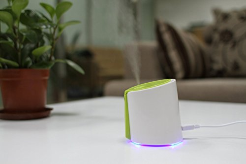 XREXS ® greeen and white Compact Mini USB Home Room Humidifier Air Purifier Freshener Travel Car Portable with Blue LED Light