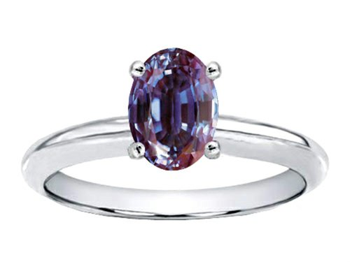 Tommaso Design Oval 8X6Mm Simulated Alexandrite Engagement Ring 14K Size 8