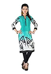 The Empire Casual Wear Turquoise Coloured Georgette Stitched Kurti-L