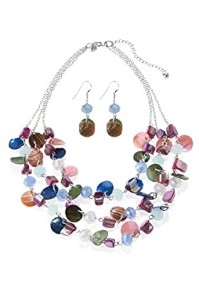 Assorted Bead Multi-Strand Necklace & Earrings Set
