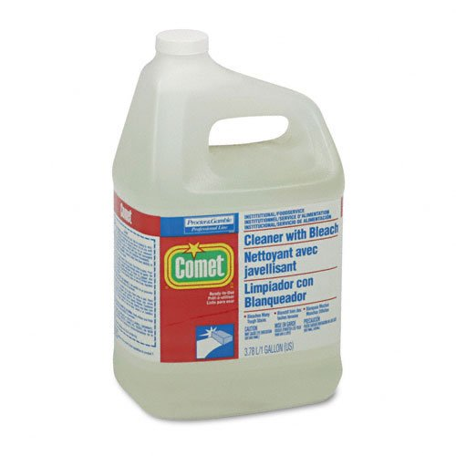 Procter & Gamble Products - Procter & Gamble - Comet Cleaner w/Bleach, Liquid, 1 gal. Bottle - Sold As 1 Each - Heavy-duty detergents with Chlorinol bleach power through soap scum, grease and hard-water stains without scrubbing. - Disinfects and deodorizes toilets and urinals. - Nonabrasive formula.