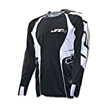 JT Racing USA Evolve Lite Dirt Bike MX Motocross Jersey with Race Graphics (Black/White, X-Large)