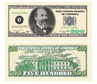 Set of 10 Bills - $500.00 Five Hundred Dollar Casino Party Money - 1