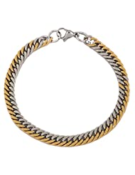 The Jewelbox 18K Gold Rhodium Plated Classic Curb Bracelet For Men