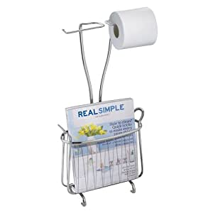 InterDesign Axis Free Standing Magazine Stand & Dual Toilet Tissue Roll Holder, Chrome