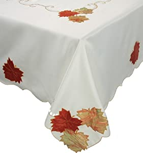 Xia Home Fashions Scrolling Leaf Embroidered Cutwork Harvest 72-Inch by 144-Inch Tablecloth