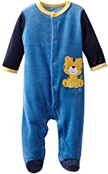 Bon Bebe Baby-boys Newborn Tiger Velour Snap Front Footed Coverall