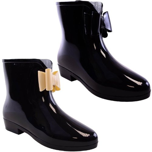 Ladies Womens Wellington Ankle Boots Wellies Rain Snow Winter - Black Rubber with Nude Bow