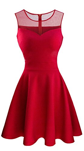 Heloise Women's A-Line Sleeveless Pleated Little Red Cocktail Party Dress (M, Red)