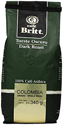 Cafe Britt Colombia Dark Roast Whole Bean, 12 Ounce