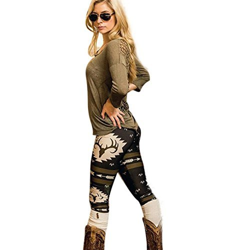 Oksale Women Skinny Vintage Printed Fitness Stretchy Yoga Pants Leggings (M, Black)