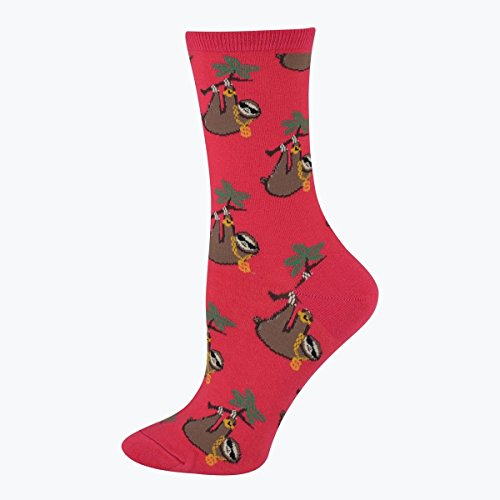 Socksmith Women's Socks Sloth Bling Crew Raspberry 1pair