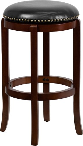 Flash Furniture TA-68929-CHY-GG Backless Cherry Wood Bar Stool with Black Leather Swivel Seat, 29-Inch