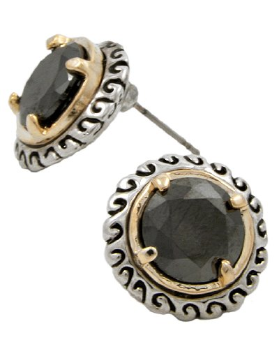 Two-Tone Black Cubic Zirconia Buttons Post Earrings