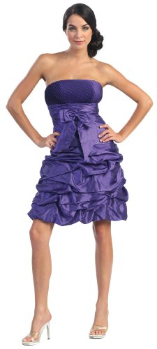 Strapless Bow Pick-up Formal Bridesmaid Prom Dress #2505