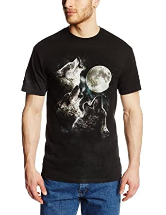 The Mountain Men's Three Wolf Moon Short Sleeve Tee,Dark Green,Medium