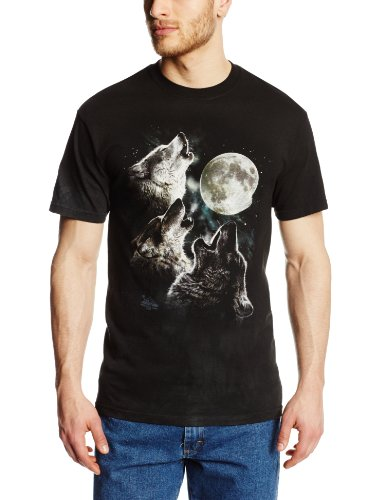 The Mountain Men's Three Wolf Moon Short Sleeve Tee, Dark Green, Large