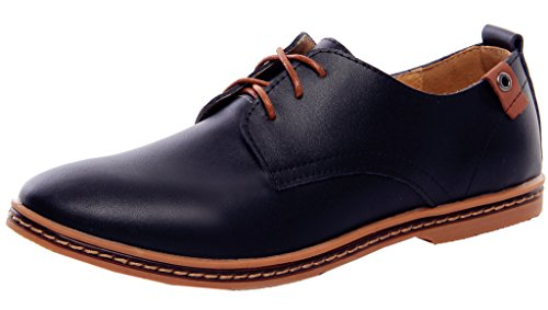 DADAWEN Men's Lace-Up Genuine Leather Oxford Black US Size 7.5