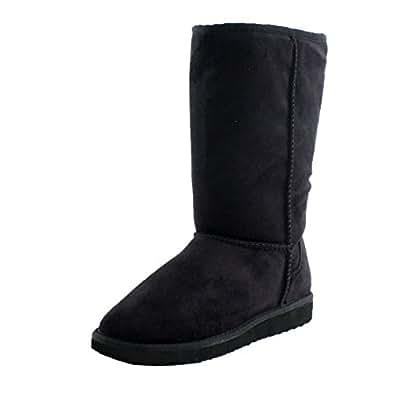 black winter boots vegan fleece shoes