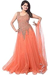 Pashimo Net Fabric Gown For Women ( Gowns with Dupatta _ Gown for Girls _ Gown for Women Party Wear ) (Orange)