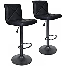 2 PU Leather Modern Adjustable Swivel Barstools Hydraulic Chair Bar Stools BT10 Black
