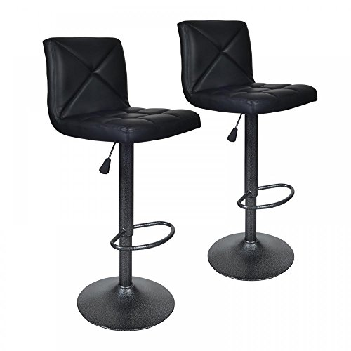 Black 2 PU Leather Modern Adjustable Swivel Barstools Hydraulic Chair Bar Stools