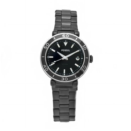 Fossil AM4280 Ladies Black Ip Bracelet Watch with Black Dial