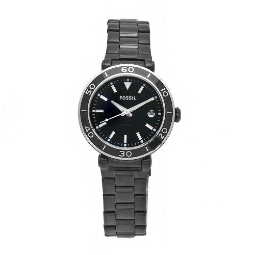 Fossil AM4280 Ladies Black Ip Bracelet Watch with Black Dial