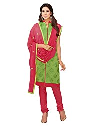 DHARM APPAREL Liril Green colored chanderi silk Dress Materials