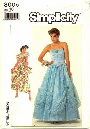 Simplicity 8006 Sewing Pattern Misses Off Shoulder Strapless Prom