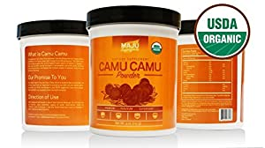 THE #1 Rated Organic Camu Camu Powder (4 oz), 100% Pure Camu Camu Berry, Wide Scoop Container, Certified USDA Organic & Packaged in USA By Maju Superfoods