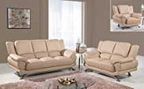 Big Sale Global Furniture Rogers Collection Bonded Leather Matching Sofa, 9908, Cappuccino with Chrome Legs
