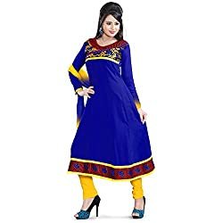 Vardhman Synthetics Women's Embroidered Unstitched Anarkali Dress Material (Blue_Free Size)
