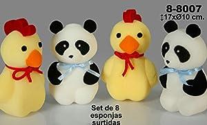 DonRegaloWeb - Set de 8 esponjas de espuma con 2 modelos surtidos decorados en colores surtidos.