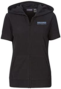 NCAA Johns Hopkins University Ladies Short Sleeve Full Zip Polar Fleece Hoodie, Black by Oxford