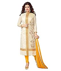Neets Fashion White Chanderi Designer Semi stitched Salwar Suit