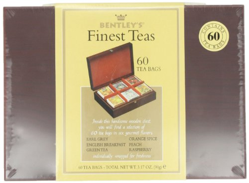 Bentley's Finest Teas Wood Grain Tea Chest, Variety