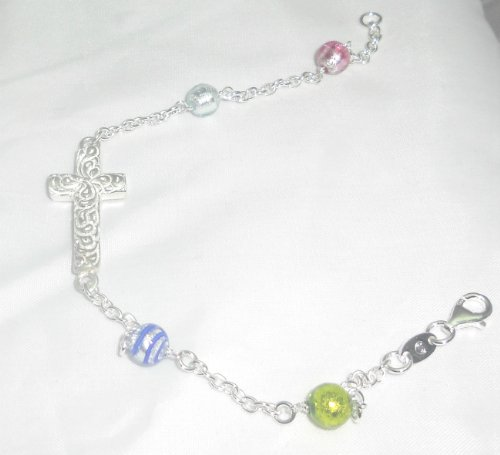 Sterling Silver Unique Sideways Cross Bracelet 6mm Venetian Murano Glass Beads