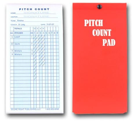Baseball Pitch Count Pad 50 sheets per booklet by Score Right Publishing