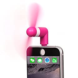 Stouch Mini Portable Dock Cool Cooler Rotating Fan iPad iPhone 6 6S 6 Plus 5 8 pin lightning - Black - Rose Red