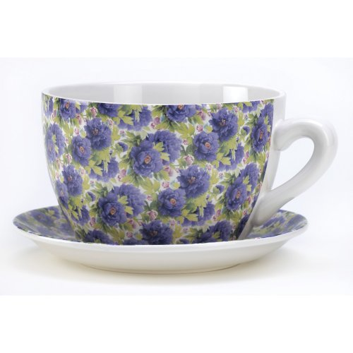 Gifts & Decor Lavender Rose Teacup Saucer Flower Pot Herb Planter