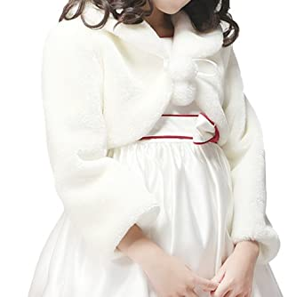 Flora Faux Fur Flower Girl's Long Sleeve IVORY Shrug/Bolero/Jacket (Small)