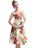 Ever Pretty Women's Double V-Neck Floral Printed Satin Short Party Dress 03381