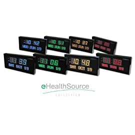 eHealthSource Big Oversized Digital LED Calendar Clock with Day and Date - Shelf or Wall Mount