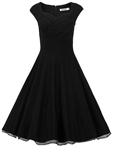 MUXXN-Womens-1950s-Retro-Vintage-Cap-Sleeve-Party-Swing-Dress